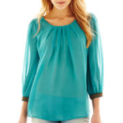 Allen B.® Cuff-Detailed Pleated Scoopneck Top