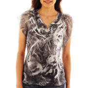Unity® Embroidered Notch-Neck Top - Plus