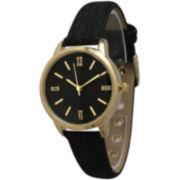 Olivia Pratt Womens Gold-Tone Black Denim Faux Leather Strap Watch 14086
