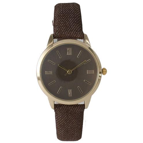 Olivia Pratt Womens Gold-Tone Brown Denim Faux Leather Strap Watch 14086