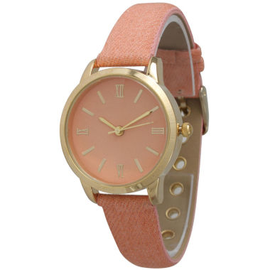 jcpenney.com | Olivia Pratt Womens Gold-Tone Coral Denim Faux Leather Strap Watch 14086