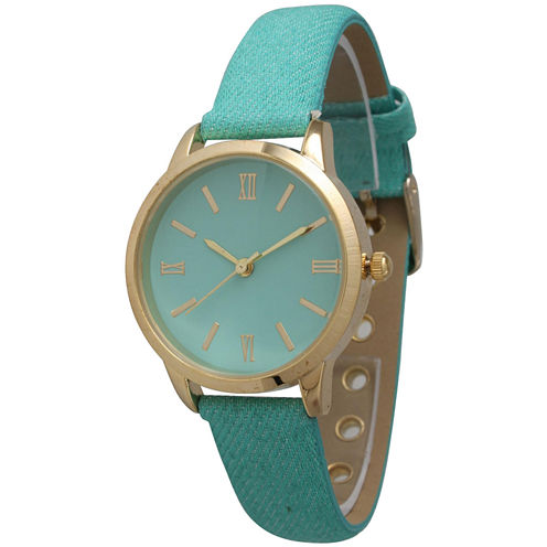 Olivia Pratt Womens Gold-Tone Mint Denim Faux Leather Strap Watch 14086