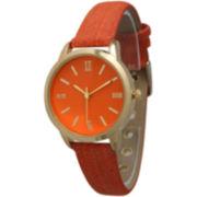 Olivia Pratt Womens Gold-Tone Orange Denim Faux Leather Strap Watch 14086