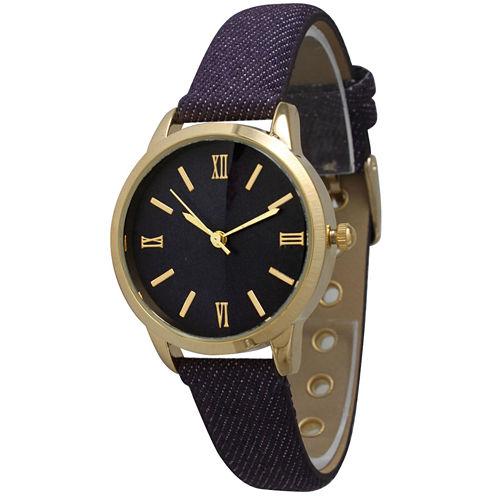 Olivia Pratt Womens Gold-Tone Purple Denim Faux Leather Strap Watch 14086