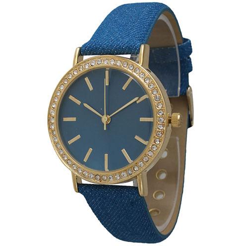 Olivia Pratt Womens Gold-Tone Rhinestone Accent Blue Denim Faux Leather Strap Watch 14087