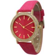 Olivia Pratt Womens Gold-Tone Rhinestone Accent Hot Pink Denim Faux Leather Strap Watch 14087