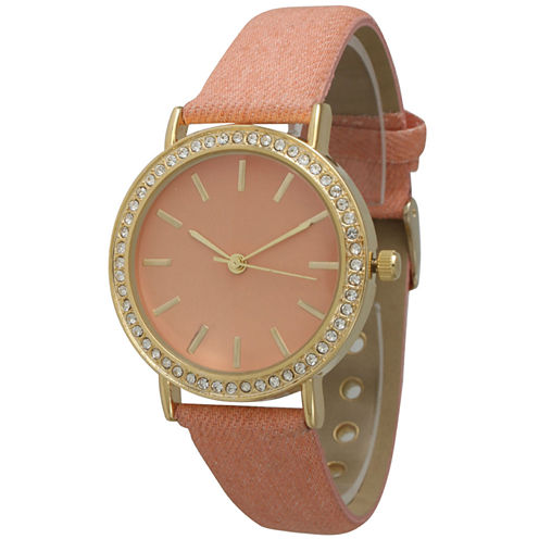 Olivia Pratt Womens Gold-Tone Rhinestone Accent Peach Denim Faux Leather Strap Watch 14087