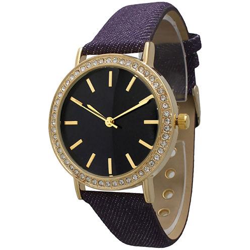Olivia Pratt Womens Gold-Tone Rhinestone Accent Purple Denim Faux Leather Strap Watch 14087
