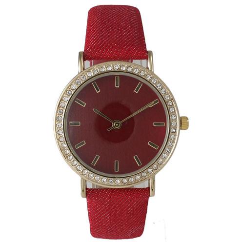 Olivia Pratt Womens Gold-Tone Rhinestone Accent Red Denim Faux Leather Strap Watch 14087