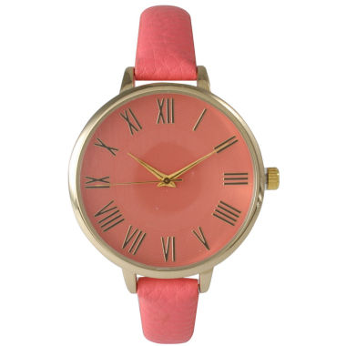 jcpenney.com | Olivia Pratt Womens Gold-Tone Coral Leather Strap Watch 14095