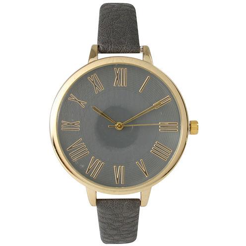 Olivia Pratt Womens Gold-Tone Dark Grey Leather Strap Watch 14095