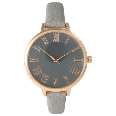 jcpenney.com | Olivia Pratt Womens Rose Gold-Tone Grey Leather Strap Watch 14095