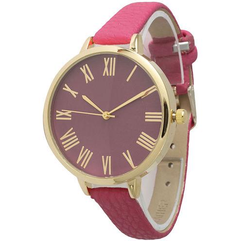 Olivia Pratt Womens Gold-Tone Hot-Pink Leather Strap Watch 14095