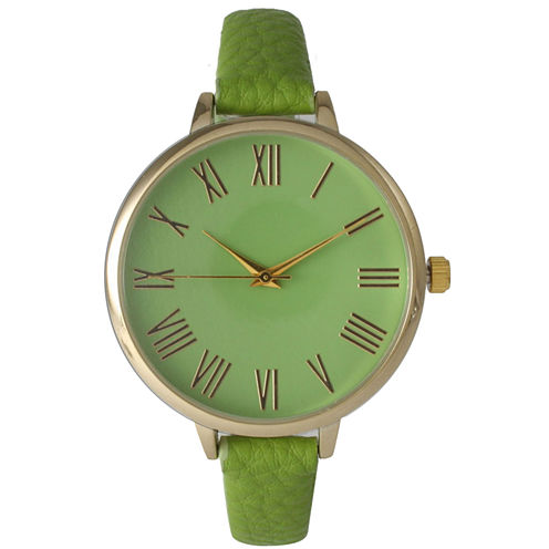 Olivia Pratt Womens Gold-Tone Lime Leather Strap Watch 14095