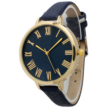 jcpenney.com | Olivia Pratt Womens Gold-Tone Navy Leather Strap Watch 14095