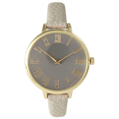 jcpenney.com | Olivia Pratt Womens Gold-Tone Taupe Leather Strap Watch 14095