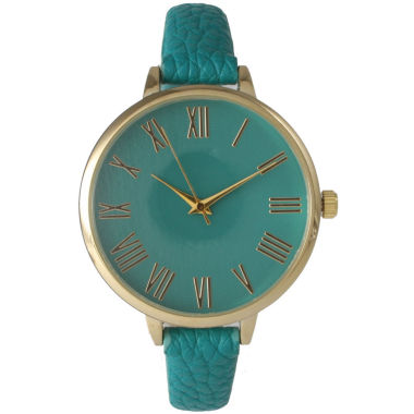 jcpenney.com | Olivia Pratt Womens Gold-Tone Teal Leather Strap Watch 14095