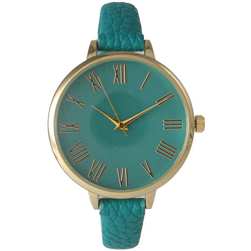 Olivia Pratt Womens Gold-Tone Teal Leather Strap Watch 14095