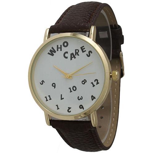 Olivia Pratt Womens Gold-Tone White Dial Yellow Leather Strap Watch 14164