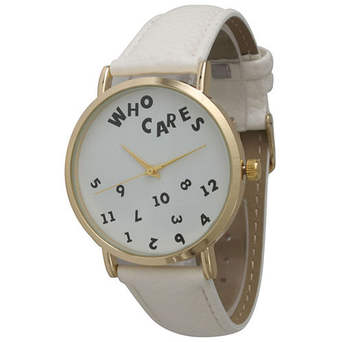 Olivia Pratt Womens Gold-Tone Dial with White Leather Strap Watch