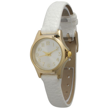 jcpenney.com | Olivia Pratt Womens Gold-Tone White Dial Blue Croc-Embossed Leather Strap Watch 14328