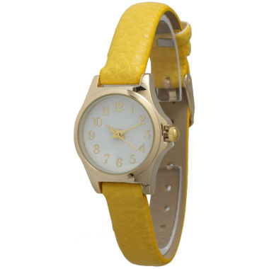 jcpenney.com | Olivia Pratt Womens Gold-Tone White Dial Brown Croc-Embossed Leather Strap Watch 14328