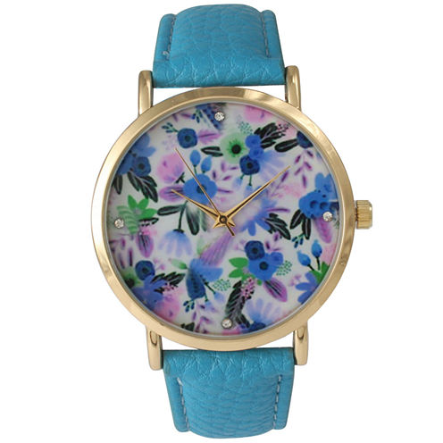 Olivia Pratt Womens Gold-Tone Blue Floral Dial with Blue Leather Strap Watch 14328