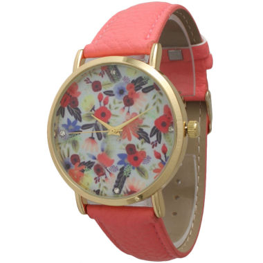 jcpenney.com | Olivia Pratt Womens Gold-Tone Multi-Color Floral Print Dial with Coral Leather Strap Watch 14181