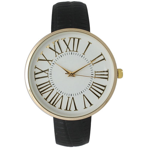 Olivia Pratt Womens Gold-Tone White Dial Black Croc-Embossed Leather Strap Watch 14328