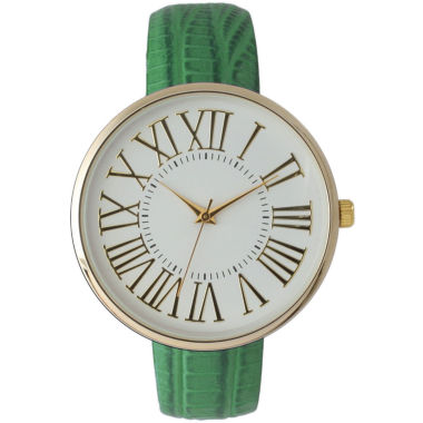 jcpenney.com | Olivia Pratt Womens Gold-Tone White Dial Lime Croc-Embossed Leather Strap Watch 14328