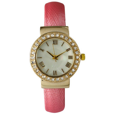 jcpenney.com | Olivia Pratt Womens Who Cares Gold-Tone White Dial Brown Leather Strap Watch 14133