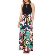 London Style Collection Sleeveless Braided Neck Floral Maxi Dress