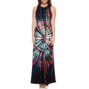 London Style Collection Sleeveless Tie-Dyed Maxi Dress