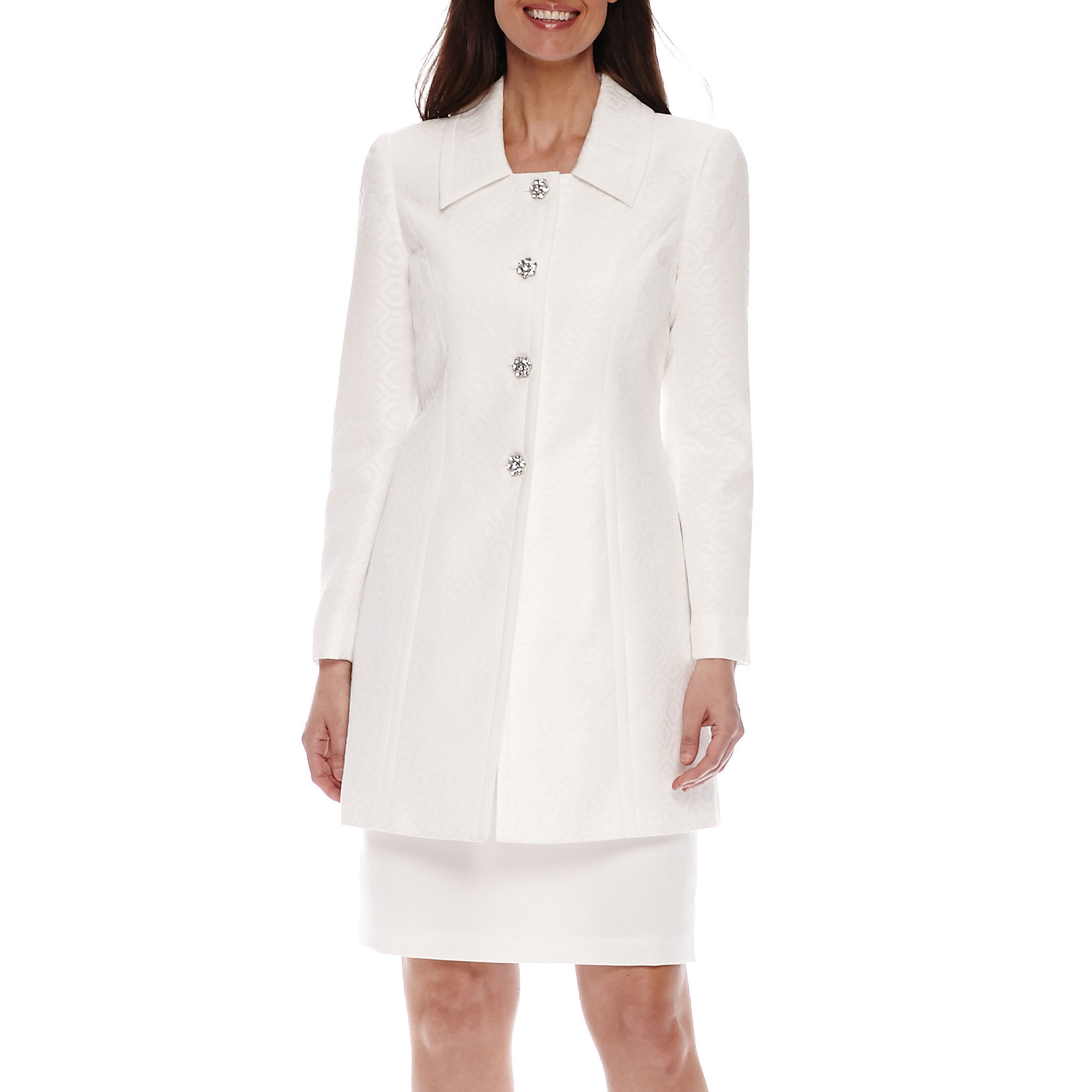 Isabella Long-Sleeve 4-Button Collared Long Jacket and Skirt Suit plus size,  plus size fashion plus size appare