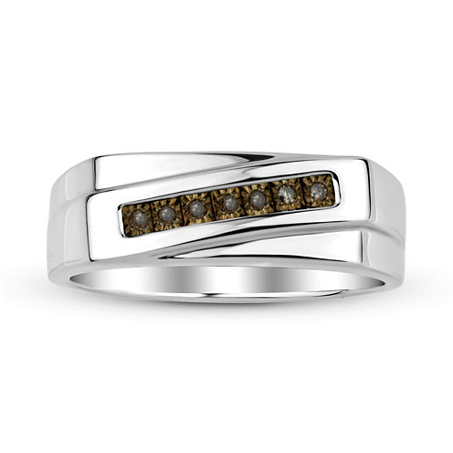 Mens Color-Enhanced Champagne Diamond Accent Sterling Silver Ring