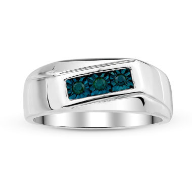 jcpenney.com | Mens 1/8 CT. T.W. Color-Enhanced Blue Diamond Sterling Silver Ring