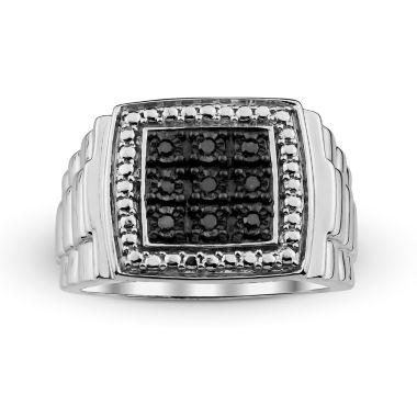 jcpenney.com | Mens 1/10 CT. T.W. Color-Enhanced Black Diamond Sterling Silver Ring