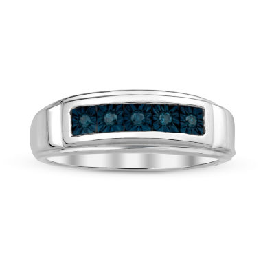 jcpenney.com | Mens Color-Enhanced Blue Diamond Accent Sterling Silver Ring
