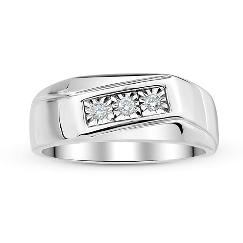 Mens 1/8 CT. T.W. Diamond Sterling Silver Ring