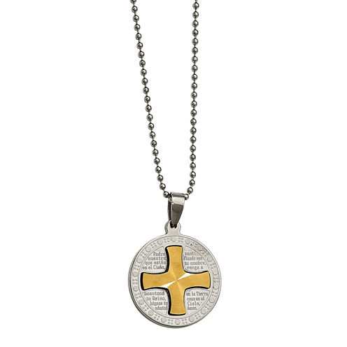 Mens Stainless Steel Spanish Lords Prayer Pendant