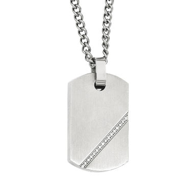 jcpenney.com | Mens Cubic Zirconia Stainless Steel Dog Tag Pendant