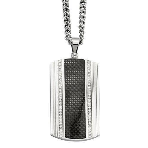 Mens Cubic Zirconia Stainless Steel & Black Carbon Fiber Dog Tag Pendant