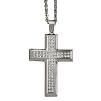 Mens cubic zirconia stainless steel cross pendant jcpenney mens cubic zirconia stainless steel cross pendant aloadofball Images