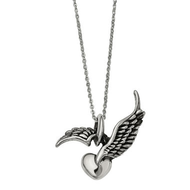 jcpenney.com | Mens Stainless Steel Antiqued Winged Heart Pendant