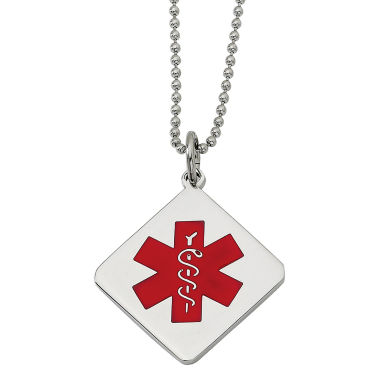jcpenney.com | Mens Stainless Steel Diamond Shaped Medical Pendant