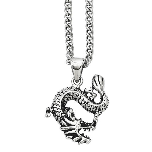 Mens Stainless Steel Antiqued Dragon Pendant