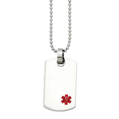 jcpenney.com | Mens Stainless Steel Small Dog Tag Medical Pendant