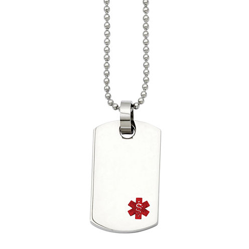 Mens Stainless Steel Small Dog Tag Medical Pendant