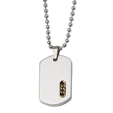 jcpenney.com | Mens Stainless Steel Yellow Ion-Plated Dog Tag Pendant