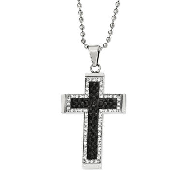 jcpenney.com | Mens Cubic Zirconia Black Ion-Plated Stainless Steel Cross Pendant